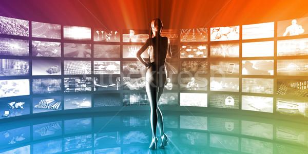 Média technológiák videofal üzlet televízió technológia Stock fotó © kentoh