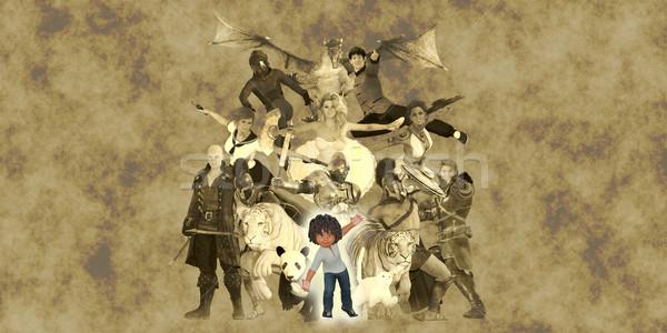 冒険 アップ 子 子供 子供 友達 ストックフォト © kentoh