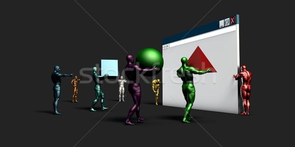 Web design kicsi munkások üzlet számítógép laptop Stock fotó © kentoh