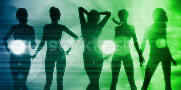 Disco discotheek partij vrouwen zonsondergang licht Stockfoto © kentoh