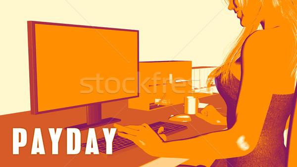 Betaaldag vrouw naar computer business klas Stockfoto © kentoh