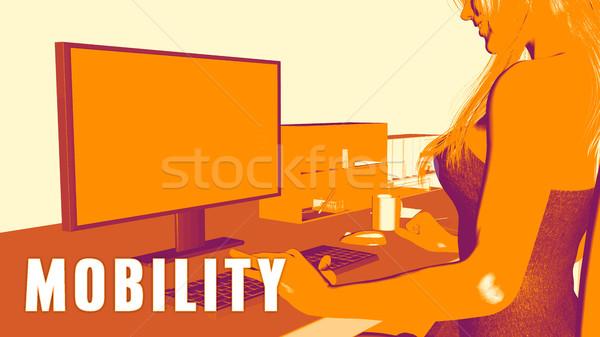 Mobilité femme regarder ordinateur affaires classe Photo stock © kentoh