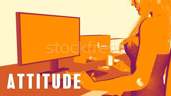 отношение женщину глядя компьютер бизнеса образование Сток-фото © kentoh