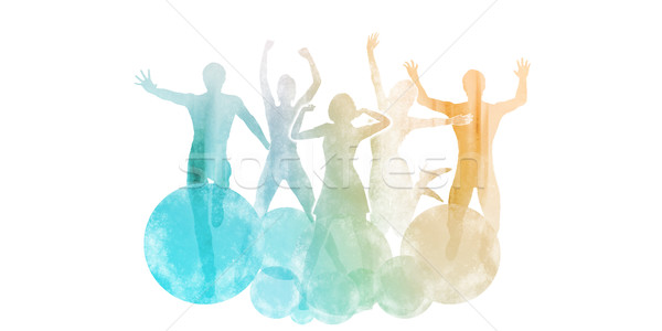 Group of Friends Jumping for Joy Stock photo © kentoh