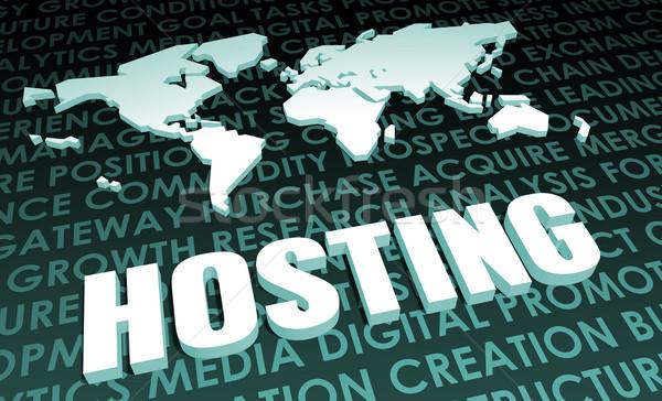 Hosting ipar globális szabvány 3D térkép Stock fotó © kentoh