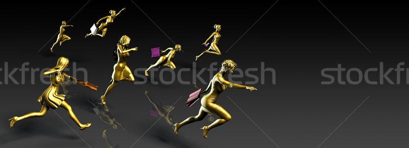 Women Shopping with Backdrop Stock photo © kentoh