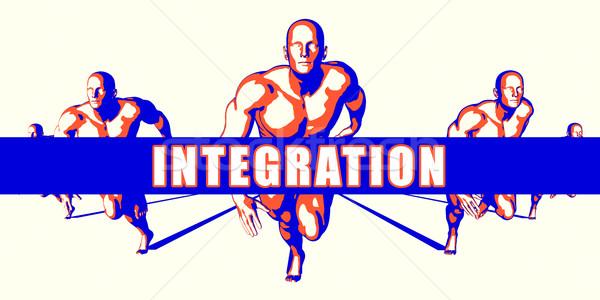 Integratie concurrentie illustratie kunst achtergrond oranje Stockfoto © kentoh