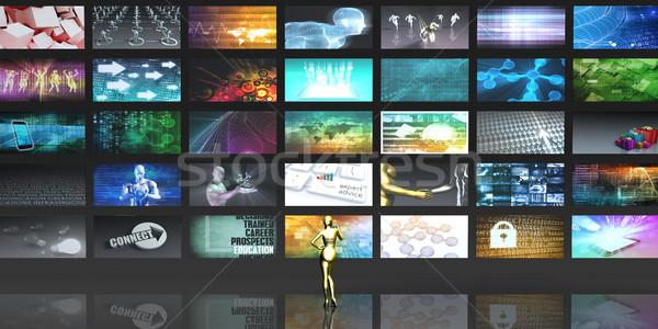 Estratégia de marketing mundial alcançar tecnologia rede trabalho Foto stock © kentoh