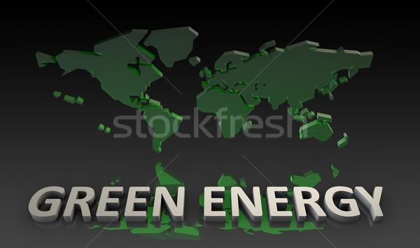 Groene energie wereldkaart 3D kaart abstract wereld Stockfoto © kentoh