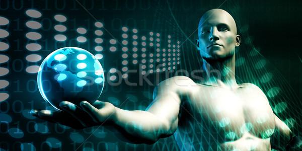Globális üzlet vágány hálózat földgömb biztonság üzletember Stock fotó © kentoh
