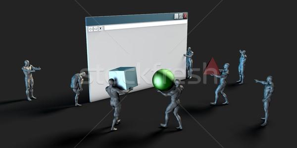 Website bouwer grafisch ontwerp diensten oplossingen ontwerp Stockfoto © kentoh