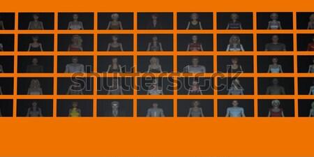 Cel publiczności online stronie działalności tłum Zdjęcia stock © kentoh