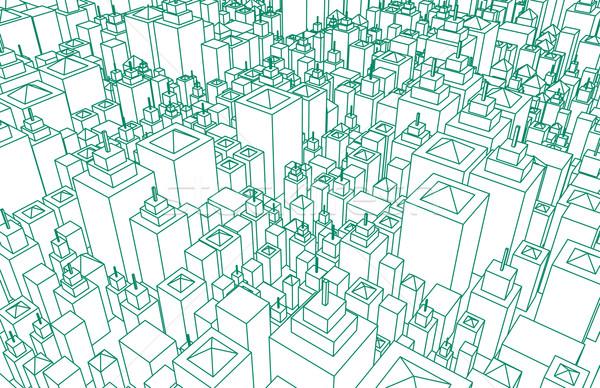 Moderne architectuur stad wireframe lijnen fundamenteel Stockfoto © kentoh