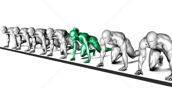 Határozott nő harcol férfiak iroda üzlet Stock fotó © kentoh