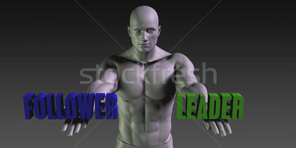 Stock fotó: Követő · vs · vezető · választ · kettő · lehetőségek