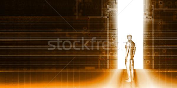 Homem em pé tecnologia portal negócio internet Foto stock © kentoh