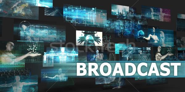Nadawanie prezentacji technologii streszczenie sztuki Internetu Zdjęcia stock © kentoh