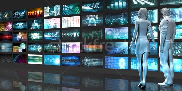 Multimedia digitalen Netzwerk Internet abstrakten Web Stock foto © kentoh