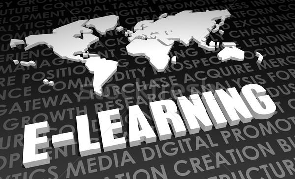 Online oktatás ipar globális szabvány 3D térkép Stock fotó © kentoh