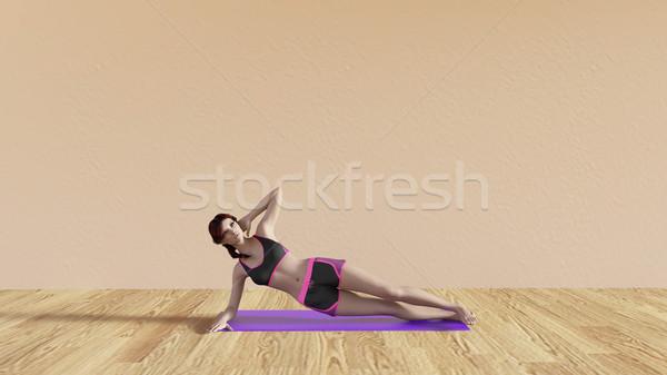 Yoga Class Side Plank Pose Stock photo © kentoh