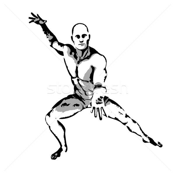 Képregény hős póz rajz tinta illusztráció Stock fotó © kentoh