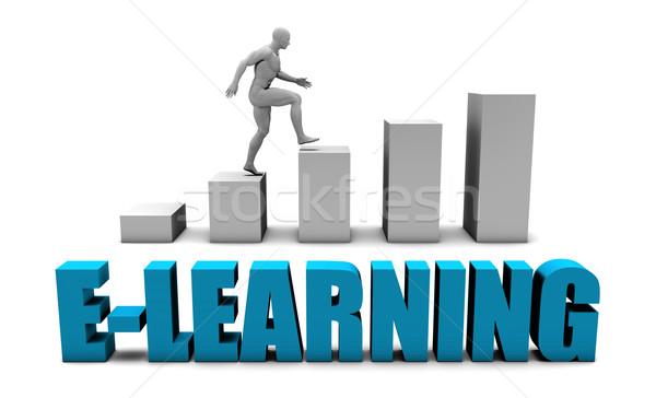 Online oktatás 3D kék oszlopdiagram grafikon oktatás Stock fotó © kentoh