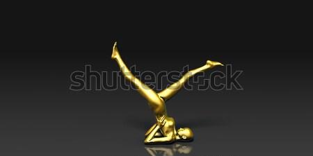 脚 ヨガのポーズ 基本 女性 背景 黒 ストックフォト © kentoh