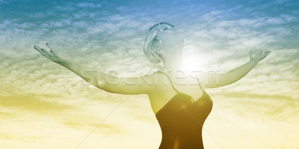 просветление женщину оружия из счастливо Сток-фото © kentoh