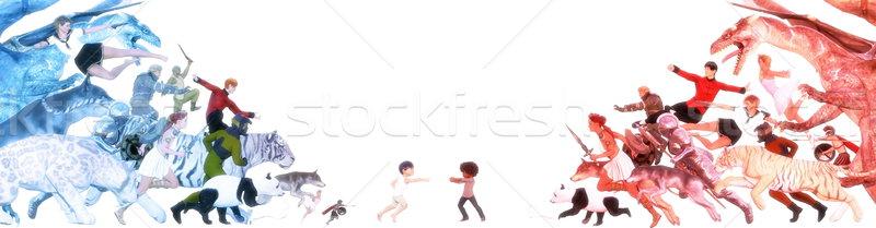 Infancia recuerdos imaginario amigo ninos nina Foto stock © kentoh