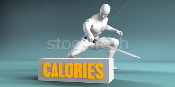 Calorieën gesneden man zwaard marketing Stockfoto © kentoh