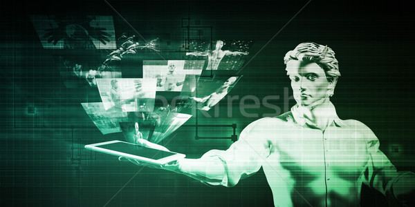Segurança de dados homem comprimido negócio tecnologia fundo Foto stock © kentoh