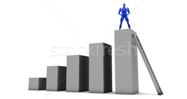 Сток-фото: человека · скалолазания · вверх · лестнице · Top · бизнесмен