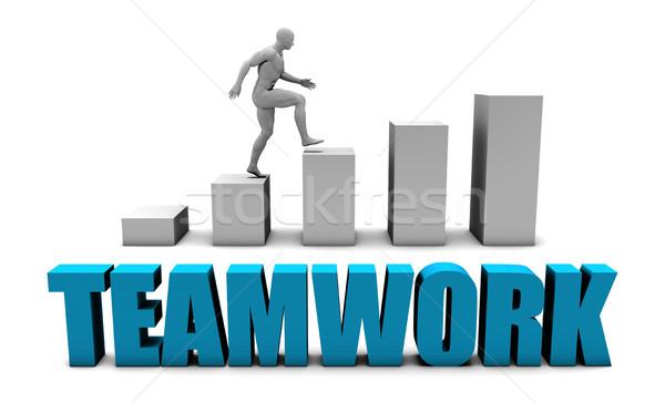 Trabajo en equipo 3D azul gráfico de barras gráfico educación Foto stock © kentoh