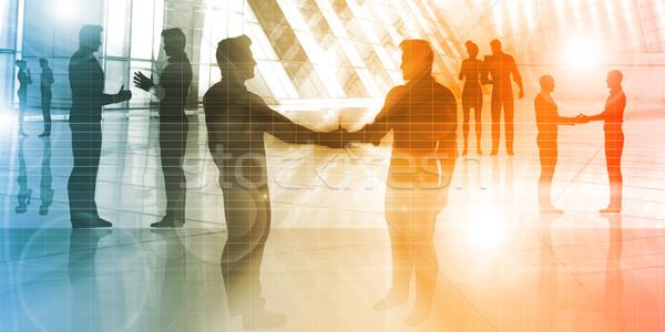 Geschäftsleute sprechen Corporate Silhouette Business Büro Stock foto © kentoh