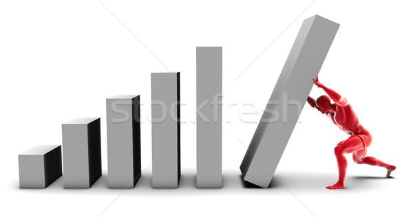 Hombre empujando hasta gráfico de barras final pieza Foto stock © kentoh