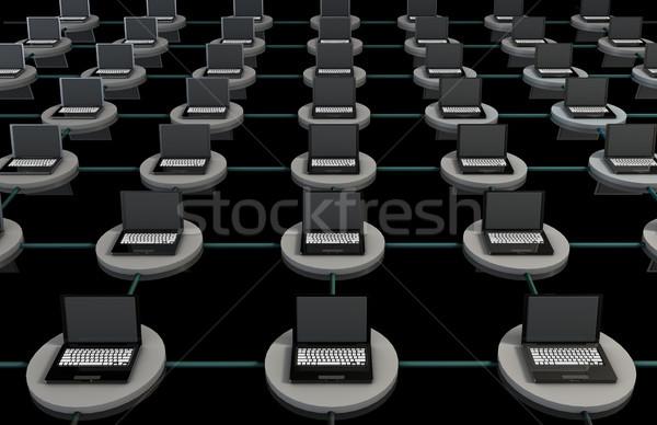 Lan bilgisayar 3D dizüstü bilgisayarlar dünya klavye Stok fotoğraf © kentoh