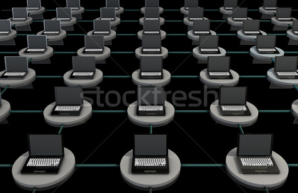 Lan computador 3D laptops globo teclado Foto stock © kentoh