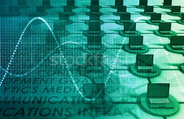 Computer netwerk lan 3D abstract laptop Stockfoto © kentoh