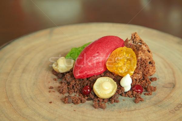 Fekete erdő torta fine dining kreatív egyedi Stock fotó © kentoh