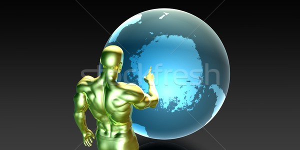 Businessman Pointing at Antarctica Stock photo © kentoh