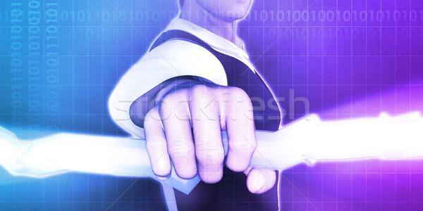 Innovatieve visie licht zakenman bliksem Stockfoto © kentoh