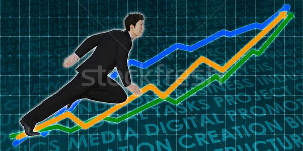 Winstgevend investering beurs asian zakenman achtergrond Stockfoto © kentoh