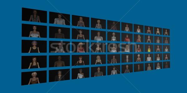 Közösségi média diverzitás nők tömeg barátok kapcsolat Stock fotó © kentoh