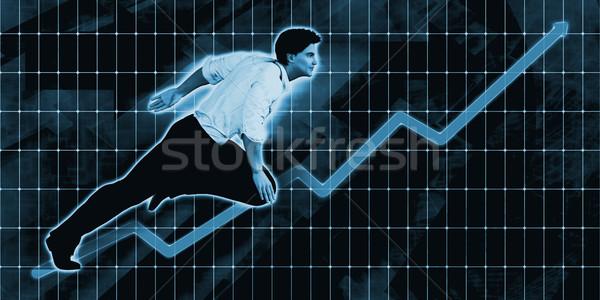 Caucasiano empresário à frente azul arte negócio Foto stock © kentoh