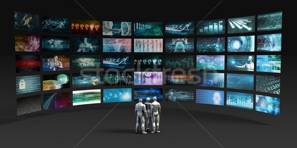 Stockfoto: Futuristische · videowall · virtueel · hologram · projectie · business
