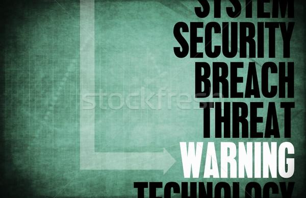 Waarschuwing computer veiligheid bedreiging bescherming netwerk Stockfoto © kentoh
