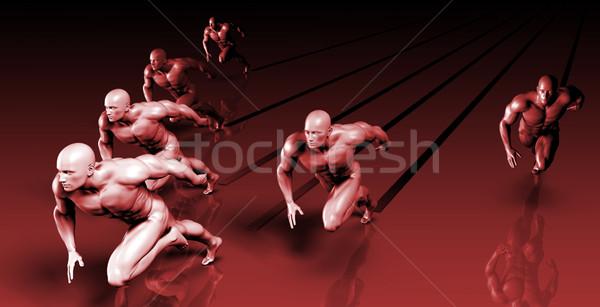 Fut maraton verseny fitnessz sportok vonat Stock fotó © kentoh
