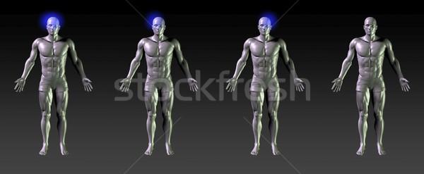 Fej gyógyulás rehabilitáció kék izzik sportok Stock fotó © kentoh