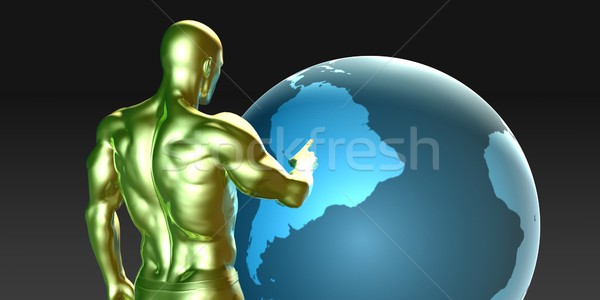 Businessman Pointing at South America  Stock photo © kentoh