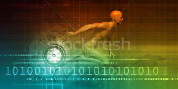 Man Racing on a Technology Background Stock photo © kentoh